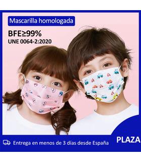 Mascarillas Higiénicas Niños/Niñas Homologada en bolsa de 10 unidades BFE 99% Mask666