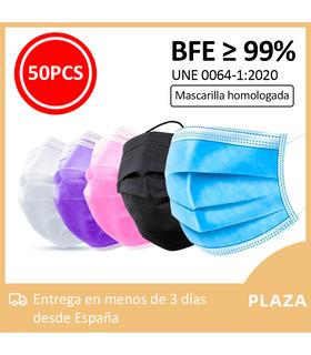 50 pcs Mascarillas higienicas tres capas Homologada BFE 99% Mask666 en bolsa de 10 unidades con autocierre