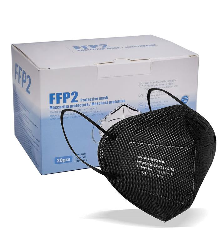 Mascarilla FFP2 Negra 20 pcs Marca ELIOX CE 2163 de Protección Respiratoria Antipolvo Homologada