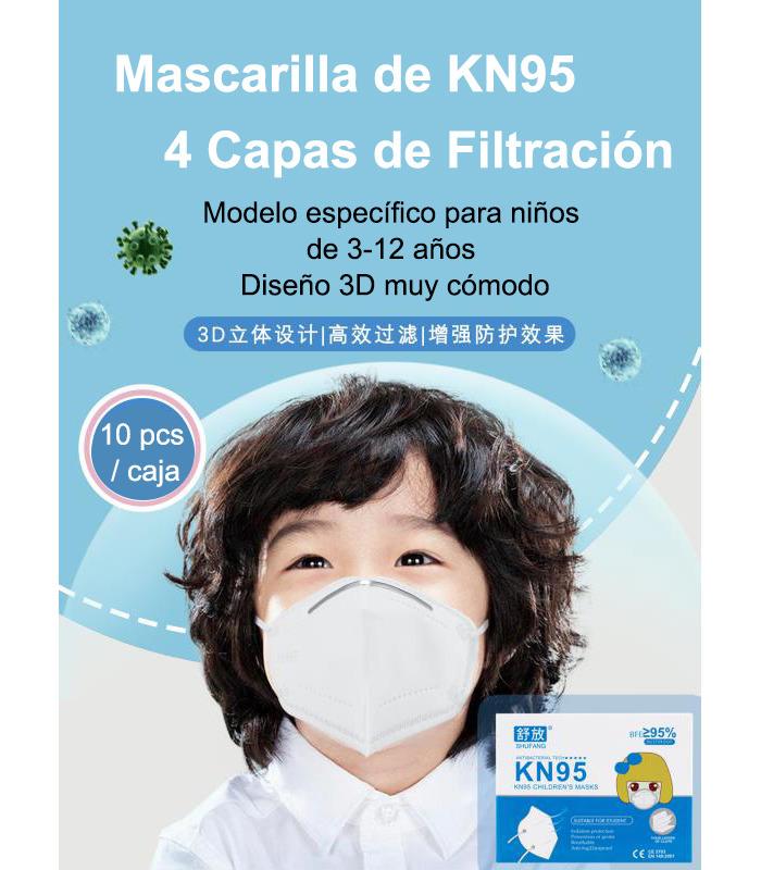 Mascarilla de Niños FFP2 (KN95) No reutilizable de 4 capas. Dispone de un (Eficiencia de filtración Bacteriana) mayor que 95%
